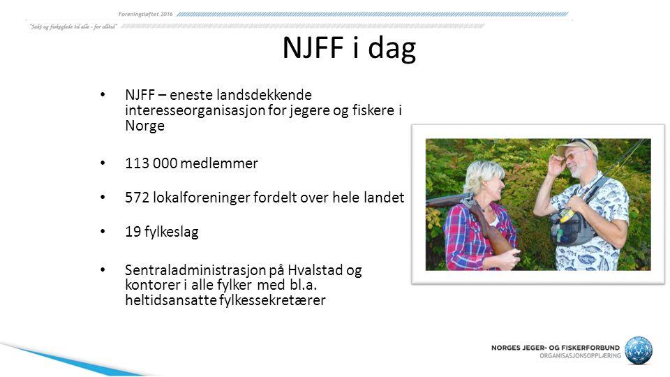 NJFF i dag NJFF – eneste landsdekkende interesseorganisasjon for jegere og fiskere i Norge 113 000 medlemmer 572 lokalforeninger fordelt over hele lan