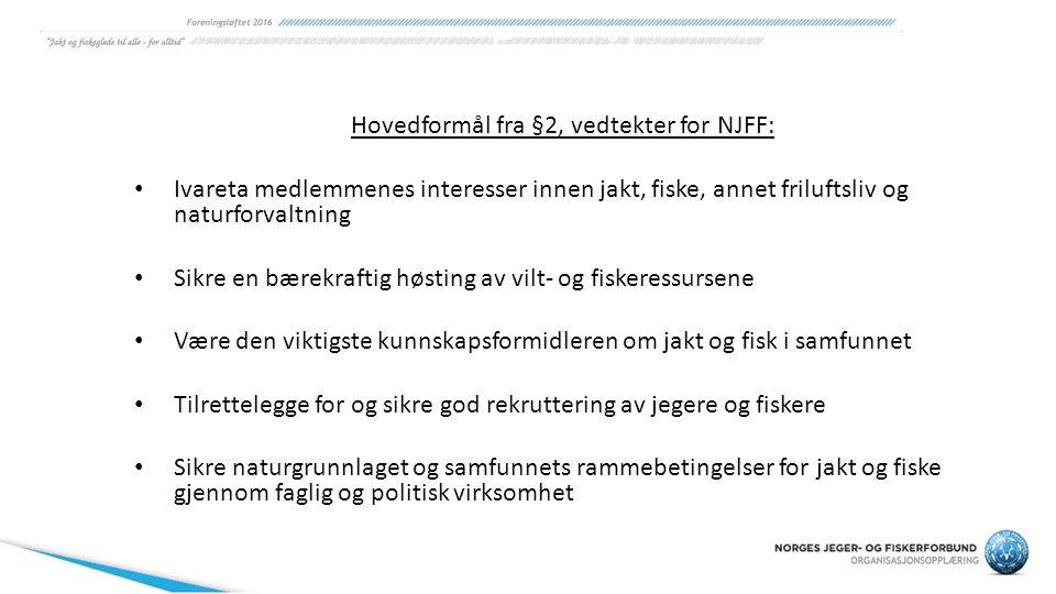 Hovedformål fra §2, vedtekter for NJFF: Ivareta medlemmenes interesser innen jakt, fiske, annet friluftsliv og naturforvaltning Sikre en bærekraftig h