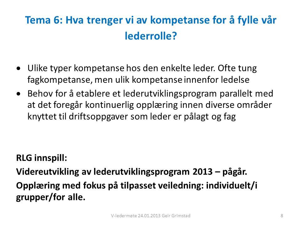 Tema 6: Hva trenger vi av kompetanse for å fylle vår lederrolle.