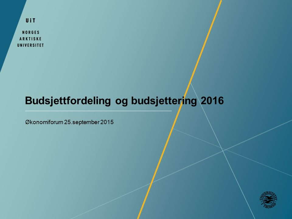 Budsjettfordeling og budsjettering 2016 Økonomiforum 25.september 2015