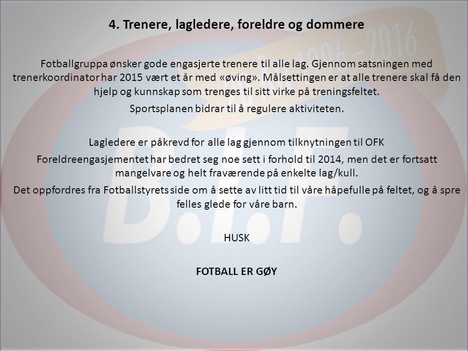 4. Trenere, lagledere, foreldre og dommere Fotballgruppa ønsker gode engasjerte trenere til alle lag. Gjennom satsningen med trenerkoordinator har 201