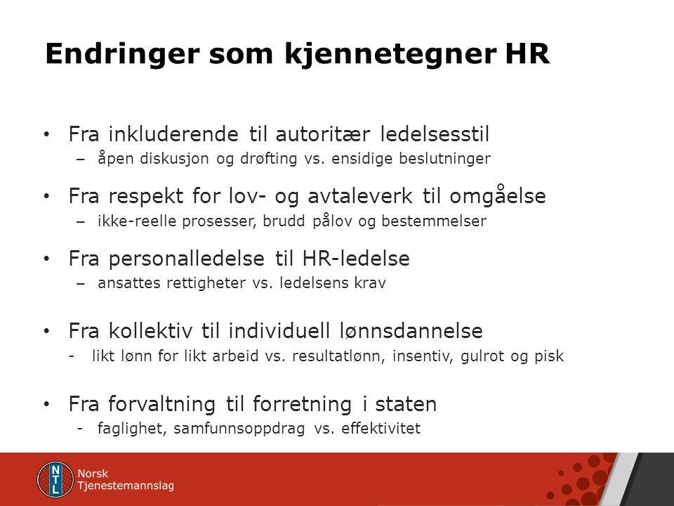Endringer som kjennetegner HR Fra inkluderende til autoritær ledelsesstil – åpen diskusjon og drøfting vs.