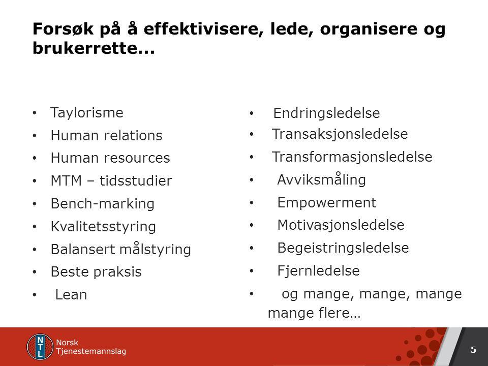 Forsøk på å effektivisere, lede, organisere og brukerrette...