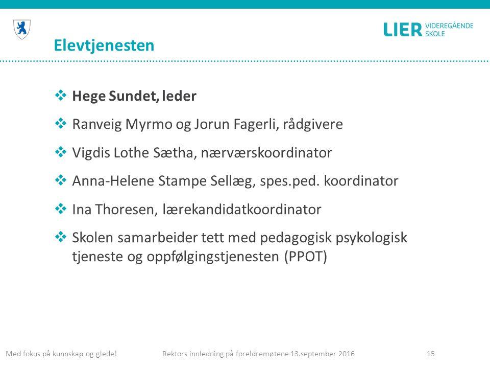 Elevtjenesten  Hege Sundet, leder  Ranveig Myrmo og Jorun Fagerli, rådgivere  Vigdis Lothe Sætha, nærværskoordinator  Anna-Helene Stampe Sellæg, spes.ped.