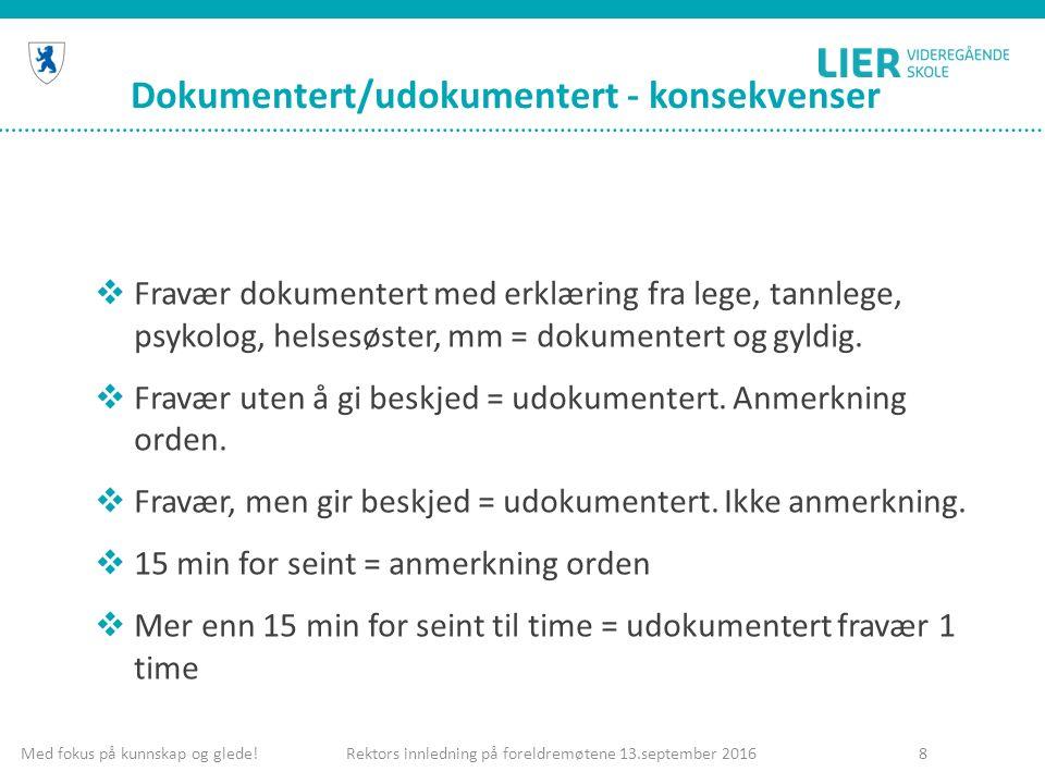 Dokumentert/udokumentert - konsekvenser  Fravær dokumentert med erklæring fra lege, tannlege, psykolog, helsesøster, mm = dokumentert og gyldig.  Fr
