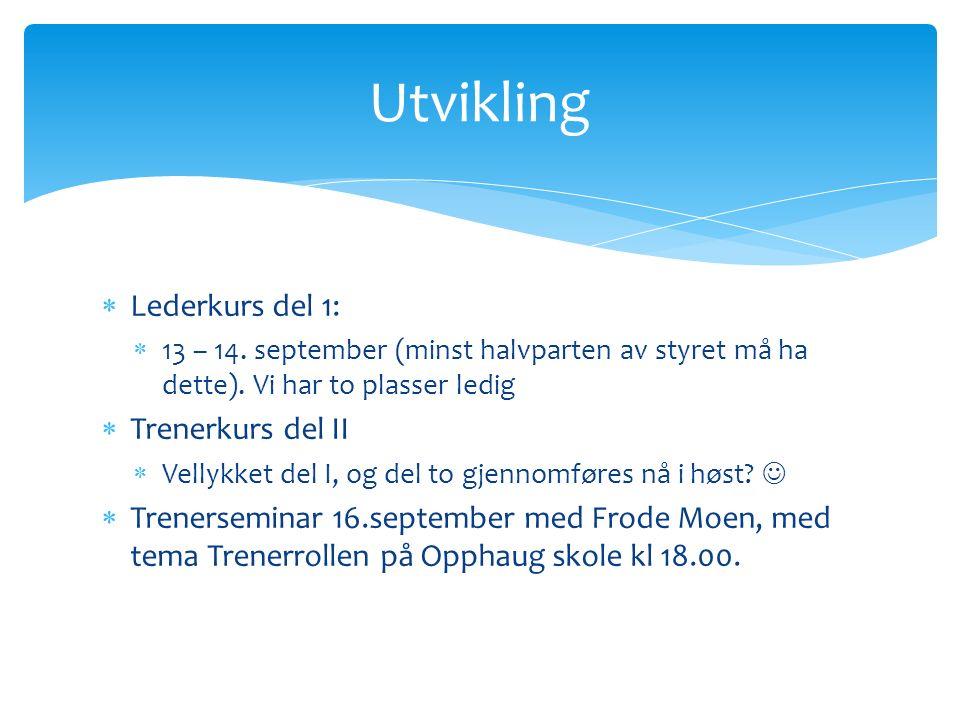 Lederkurs del 1:  13 – 14. september (minst halvparten av styret må ha dette).