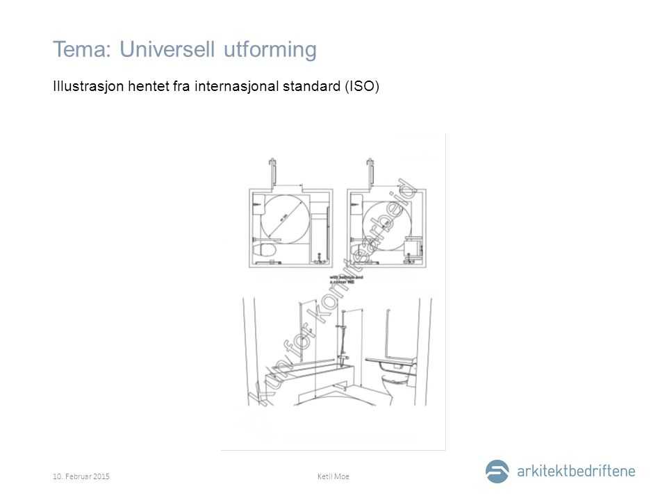 Tema: Universell utforming Illustrasjon hentet fra internasjonal standard (ISO) 10.