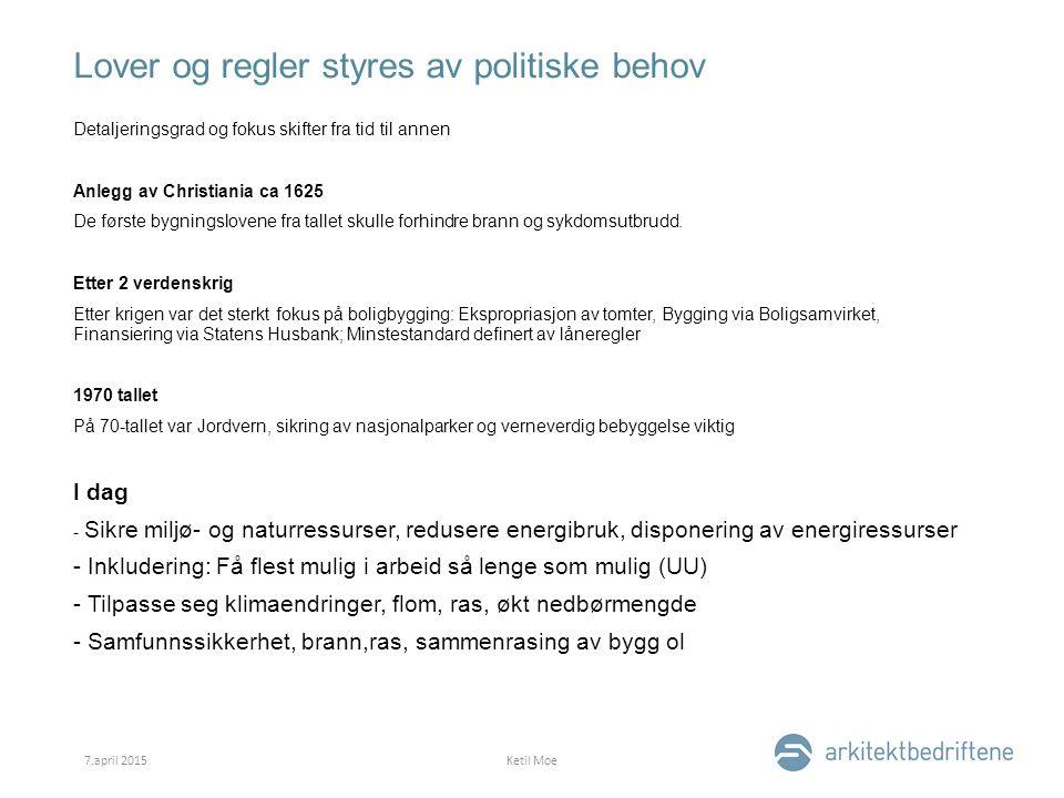 Lover og regler styres av politiske behov Detaljeringsgrad og fokus skifter fra tid til annen Anlegg av Christiania ca 1625 De første bygningslovene fra tallet skulle forhindre brann og sykdomsutbrudd.