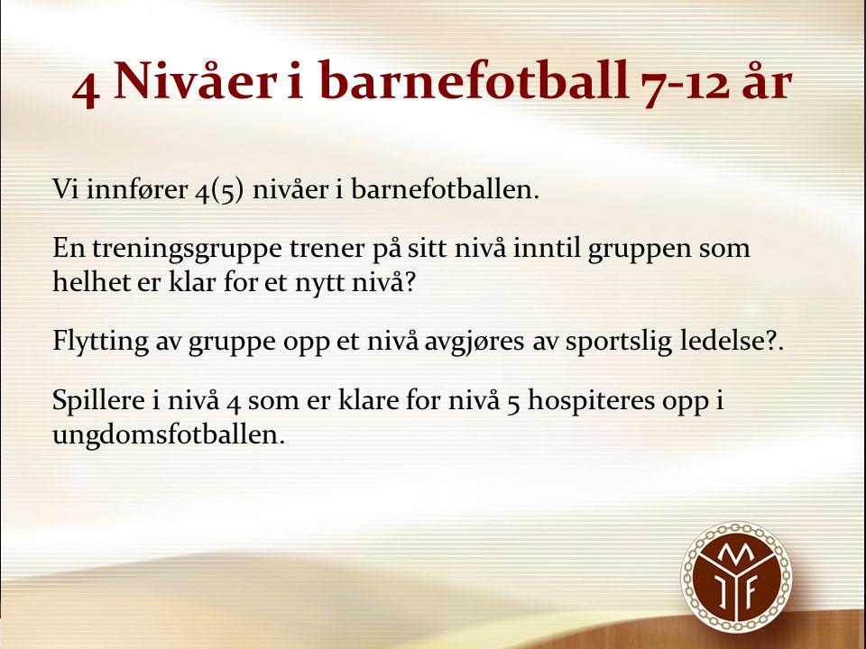 4 Nivåer i barnefotball 7-12 år Vi innfører 4(5) nivåer i barnefotballen. En treningsgruppe trener på sitt nivå inntil gruppen som helhet er klar for