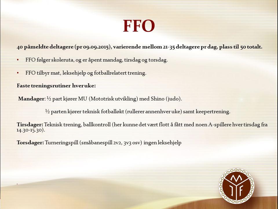 FFO 40 påmeldte deltagere (pr 09.09.2015), varierende mellom 21-35 deltagere pr dag, plass til 50 totalt. FFO følger skoleruta, og er åpent mandag, ti