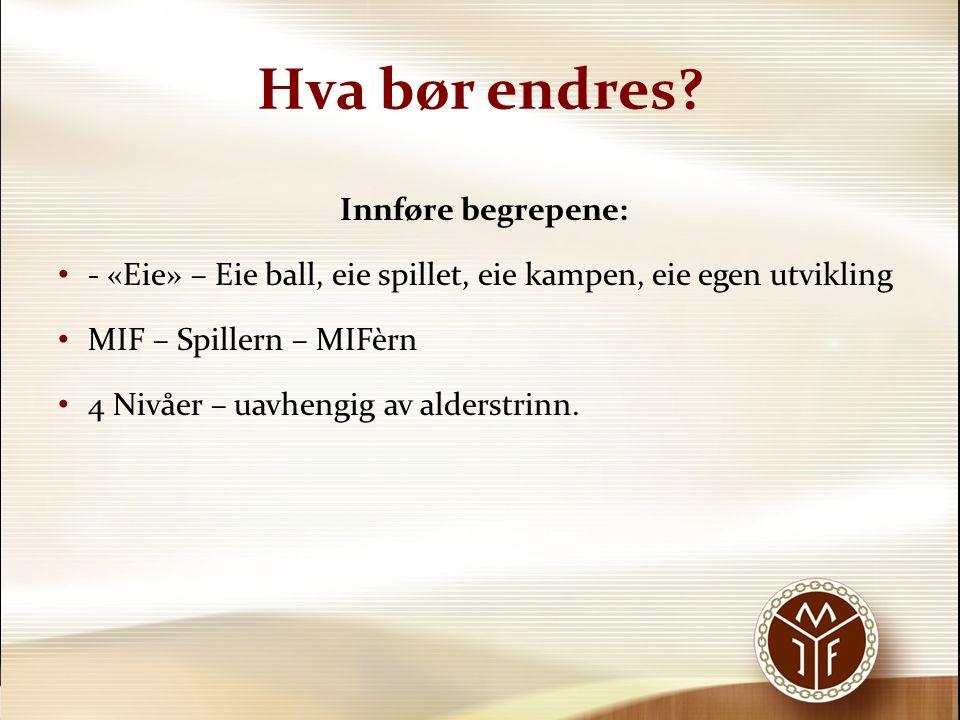 «Eie» begrepet Eie ball – Gode tekniske ferdigheter ut fra nivå Eie spillet – Selvtillit til å våge å prøve, uansett situasjon, det skal være lov å prøve og feile.