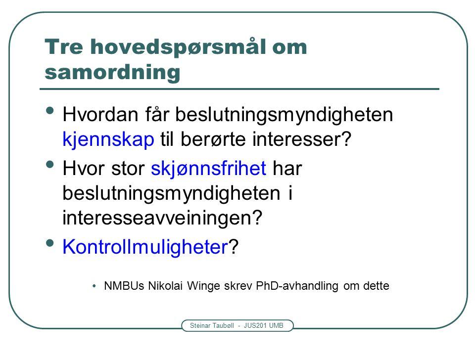 Steinar Taubøll - JUS201 UMB Tre hovedspørsmål om samordning Hvordan får beslutningsmyndigheten kjennskap til berørte interesser.