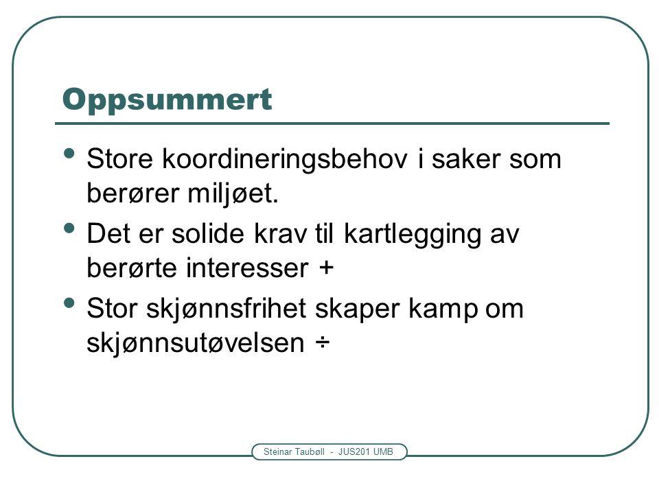 Steinar Taubøll - JUS201 UMB Oppsummert Store koordineringsbehov i saker som berører miljøet.