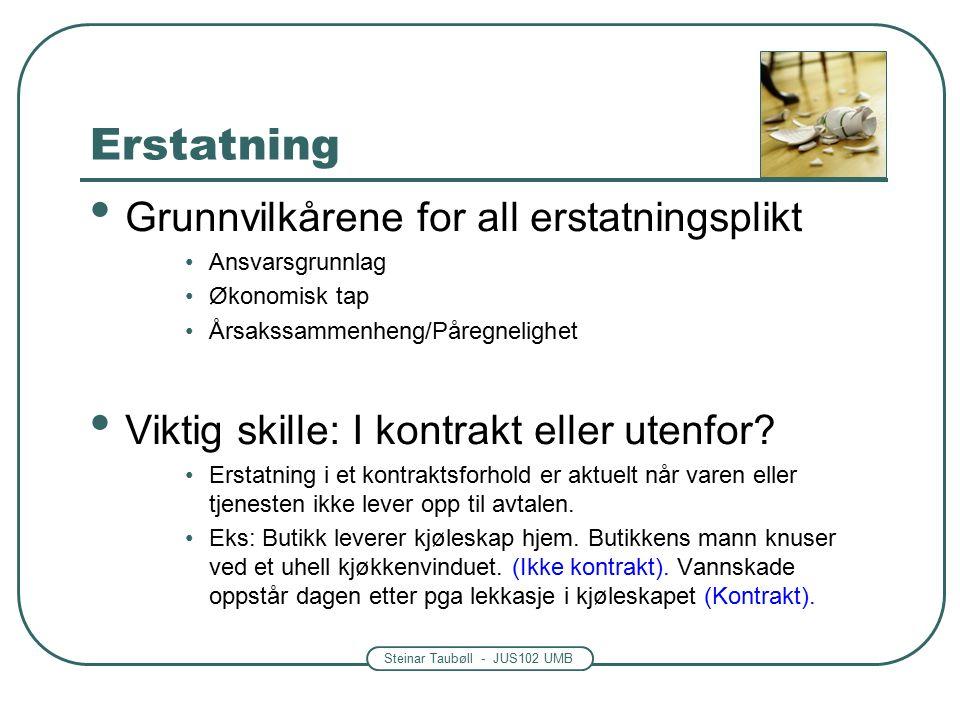 Steinar Taubøll - JUS102 UMB Erstatning Grunnvilkårene for all erstatningsplikt Ansvarsgrunnlag Økonomisk tap Årsakssammenheng/Påregnelighet Viktig skille: I kontrakt eller utenfor.