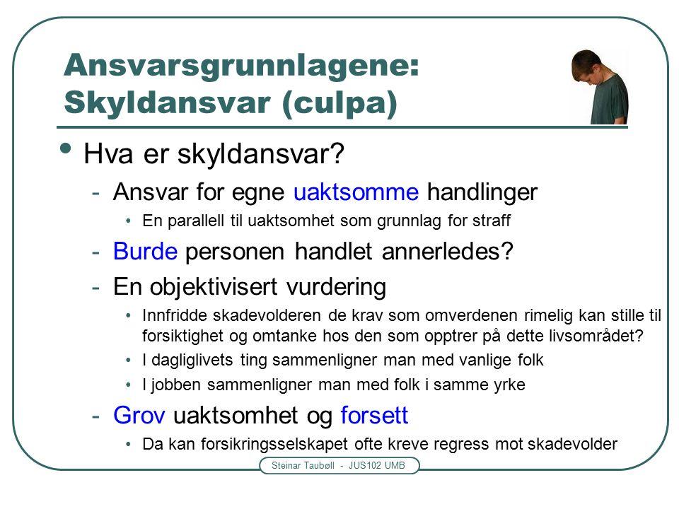 Steinar Taubøll - JUS102 UMB Ansvarsgrunnlagene: Skyldansvar (culpa) Hva er skyldansvar.