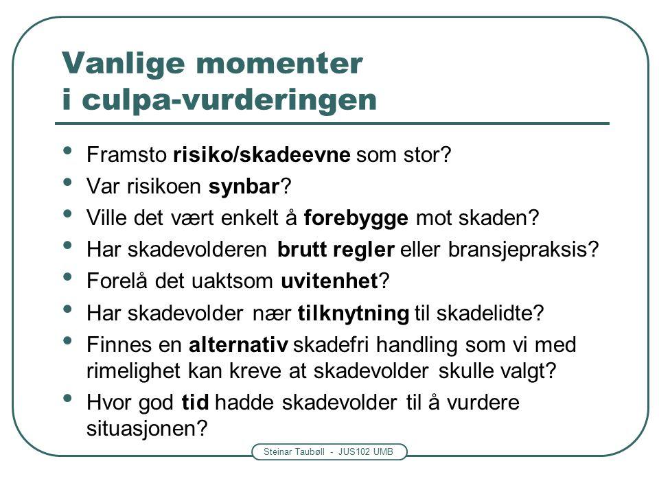 Steinar Taubøll - JUS102 UMB Vanlige momenter i culpa-vurderingen Framsto risiko/skadeevne som stor.