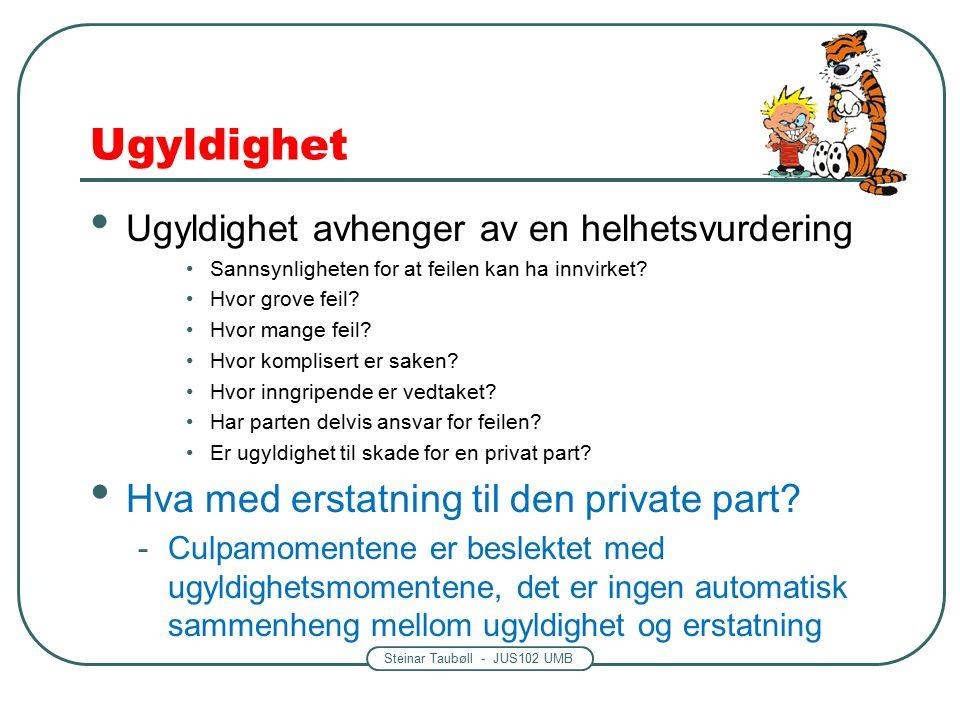 Steinar Taubøll - JUS102 UMB Ugyldighet Ugyldighet avhenger av en helhetsvurdering Sannsynligheten for at feilen kan ha innvirket.
