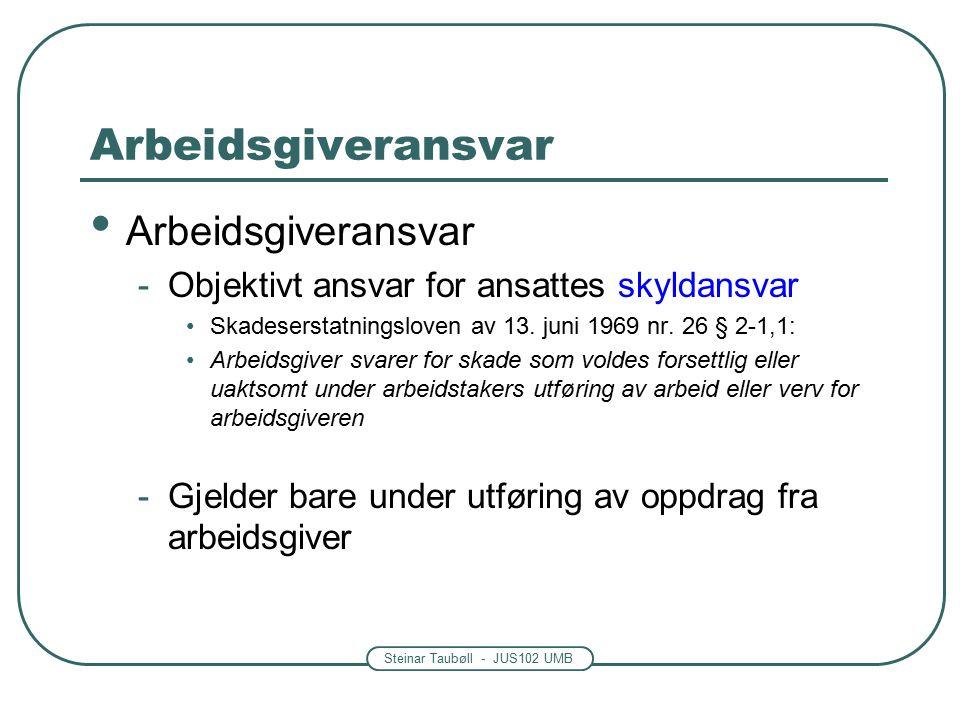 Steinar Taubøll - JUS102 UMB Arbeidsgiveransvar -Objektivt ansvar for ansattes skyldansvar Skadeserstatningsloven av 13.