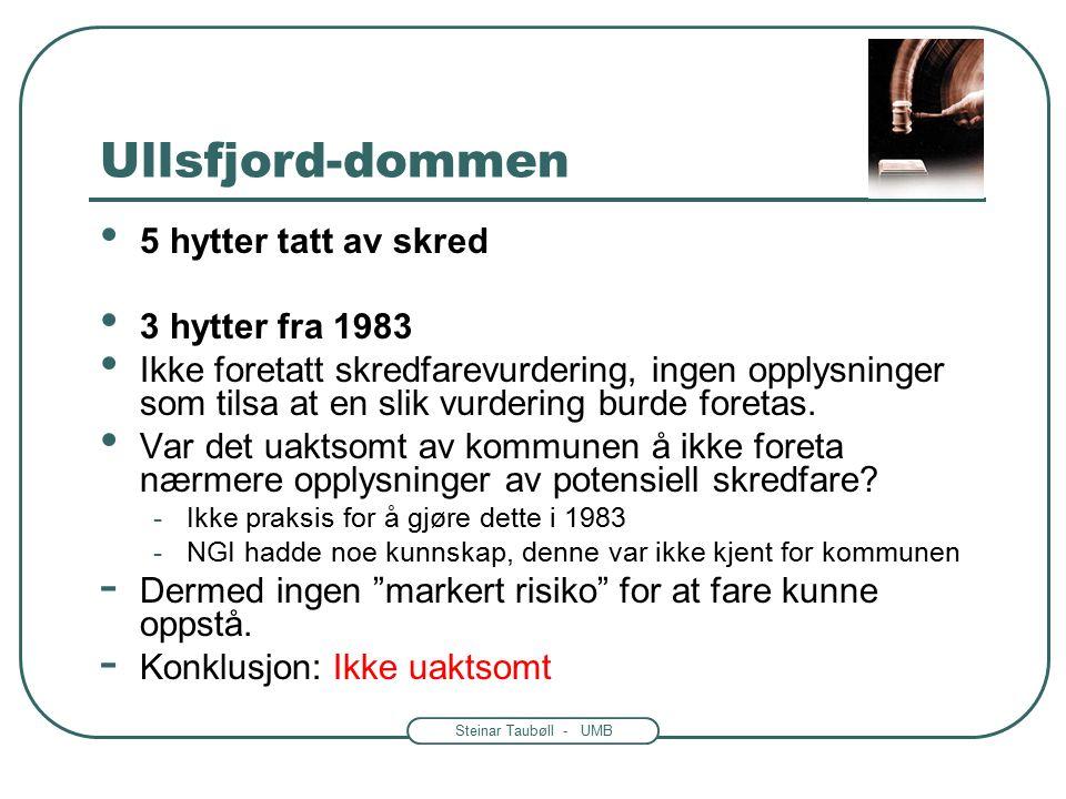 Steinar Taubøll - UMB Ullsfjord-dommen 5 hytter tatt av skred 3 hytter fra 1983 Ikke foretatt skredfarevurdering, ingen opplysninger som tilsa at en slik vurdering burde foretas.