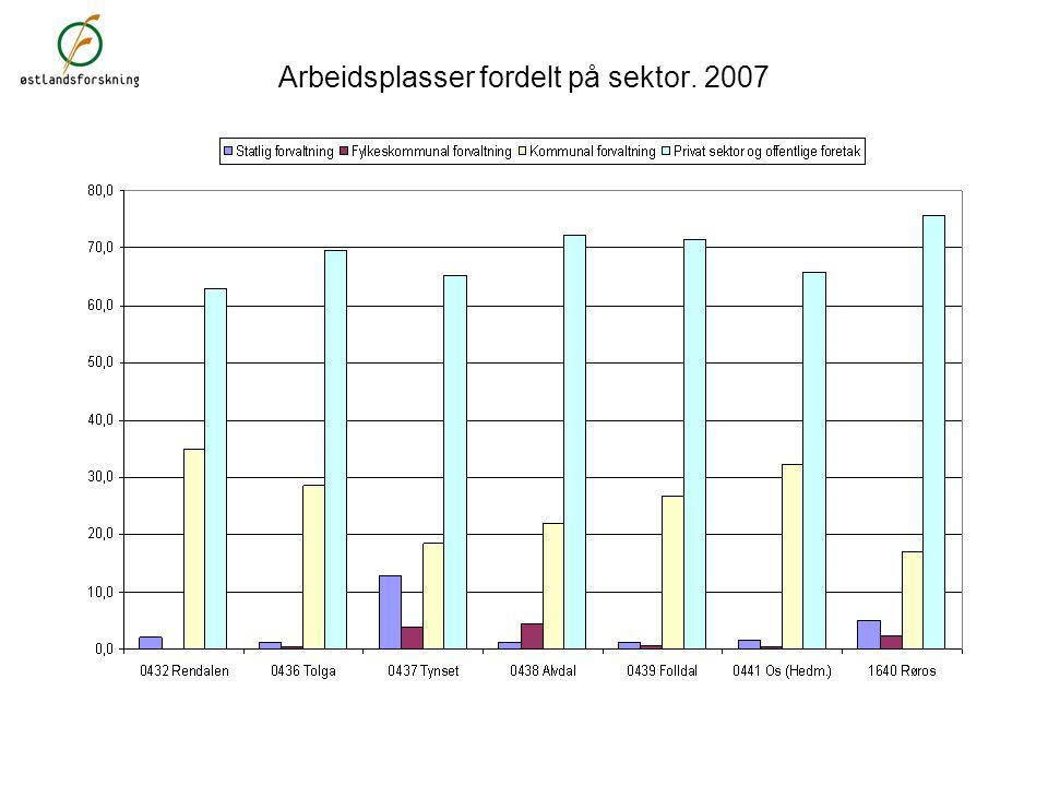 Arbeidsplasser fordelt på sektor. 2007