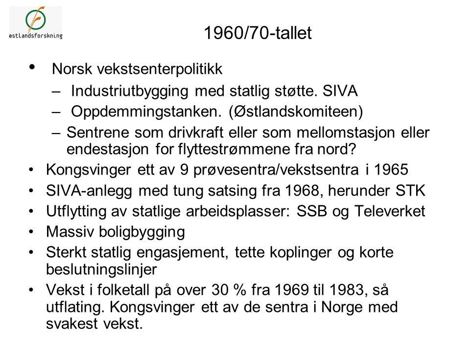 1960/70-tallet Norsk vekstsenterpolitikk – Industriutbygging med statlig støtte. SIVA – Oppdemmingstanken. (Østlandskomiteen) –Sentrene som drivkraft