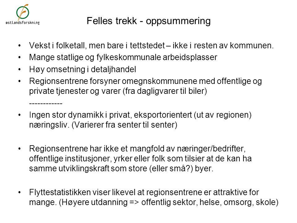 Felles trekk - oppsummering Vekst i folketall, men bare i tettstedet – ikke i resten av kommunen.