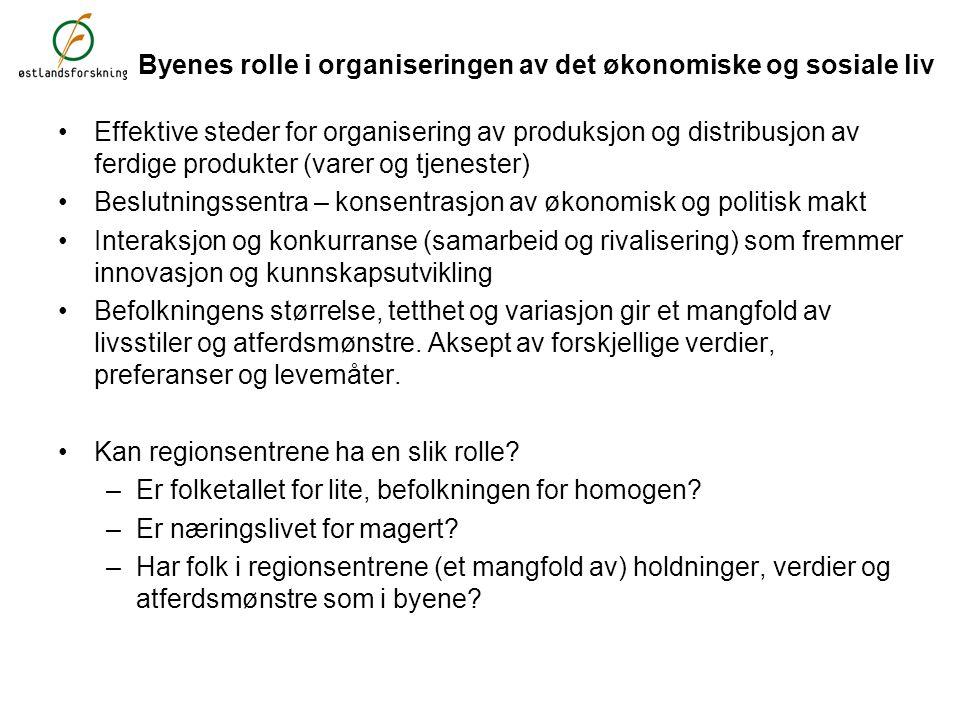 Folketall i regionsenter som andel av kommune og region