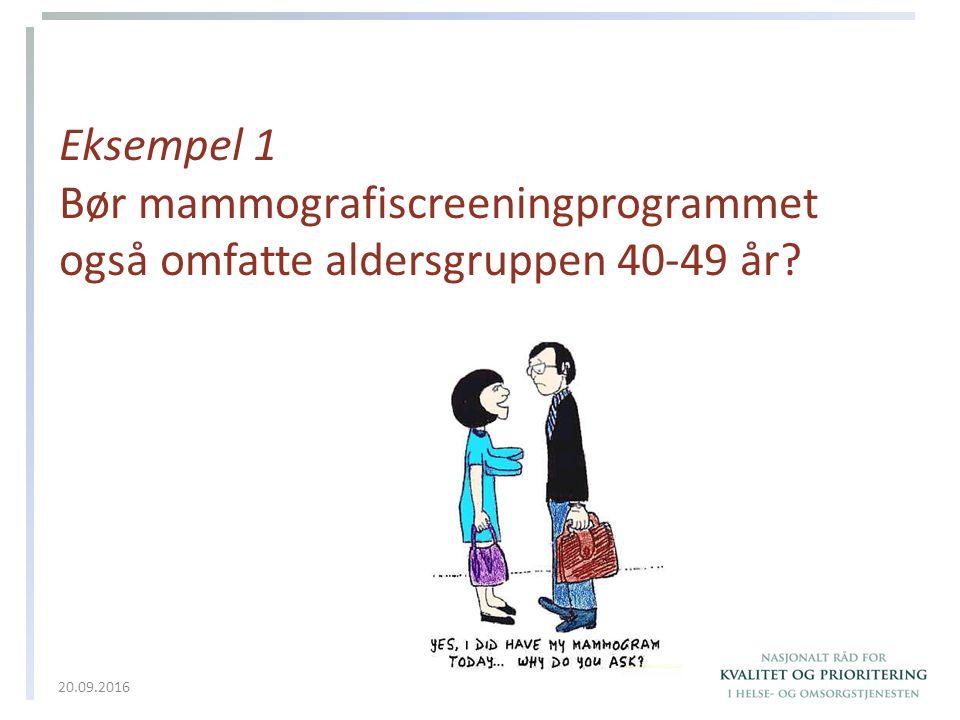 Eksempel 1 Bør mammografiscreeningprogrammet også omfatte aldersgruppen 40-49 år? 20.09.2016