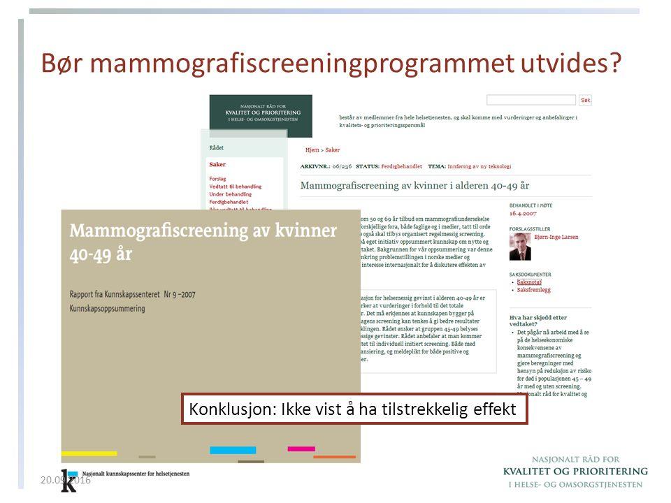 Bør mammografiscreeningprogrammet utvides.
