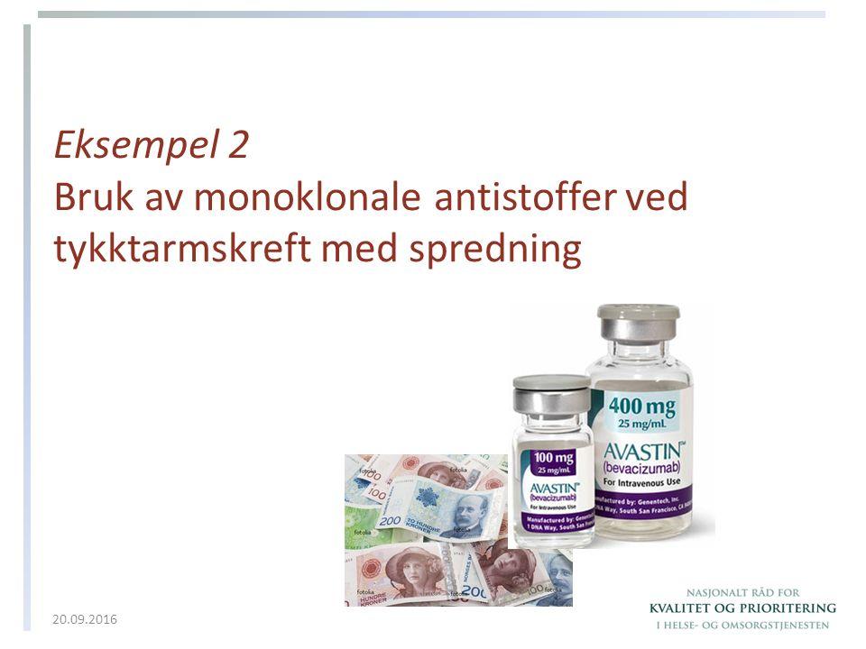 Eksempel 2 Bruk av monoklonale antistoffer ved tykktarmskreft med spredning 20.09.2016