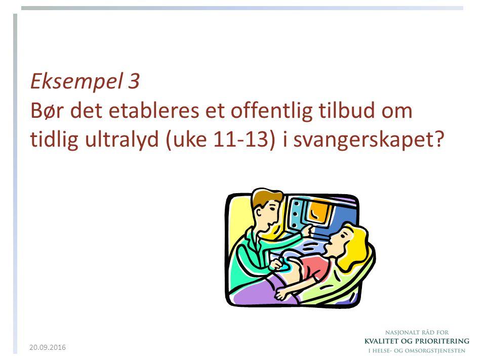 Eksempel 3 Bør det etableres et offentlig tilbud om tidlig ultralyd (uke 11-13) i svangerskapet? 20.09.2016