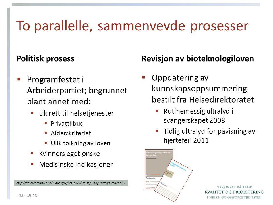 To parallelle, sammenvevde prosesser Politisk prosess  Programfestet i Arbeiderpartiet; begrunnet blant annet med:  Lik rett til helsetjenester  Pr