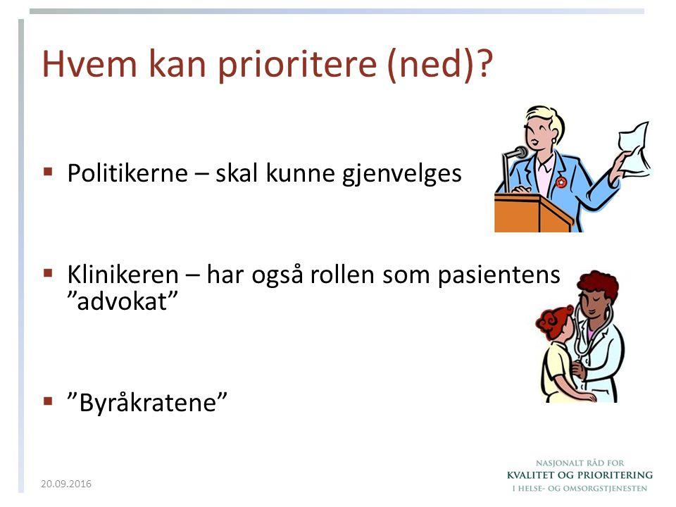 """Hvem kan prioritere (ned)?  Politikerne – skal kunne gjenvelges  Klinikeren – har også rollen som pasientens """"advokat""""  """"Byråkratene"""" 20.09.2016"""