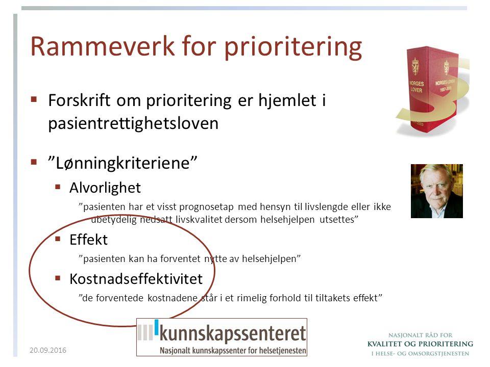 """Rammeverk for prioritering  Forskrift om prioritering er hjemlet i pasientrettighetsloven  """"Lønningkriteriene""""  Alvorlighet """"pasienten har et visst"""
