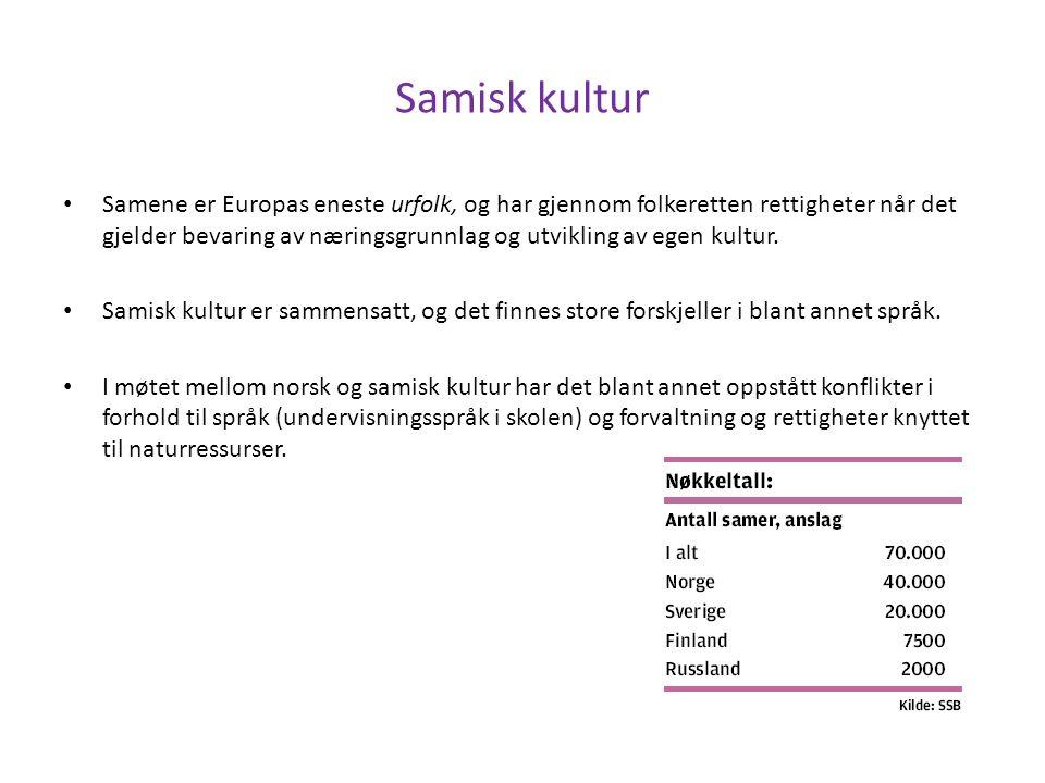 Samisk kultur Samene er Europas eneste urfolk, og har gjennom folkeretten rettigheter når det gjelder bevaring av næringsgrunnlag og utvikling av egen kultur.
