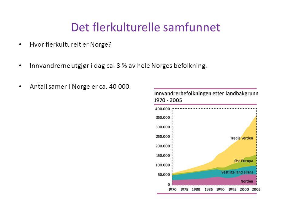 Hvor flerkulturelt er Norge. Innvandrerne utgjør i dag ca.