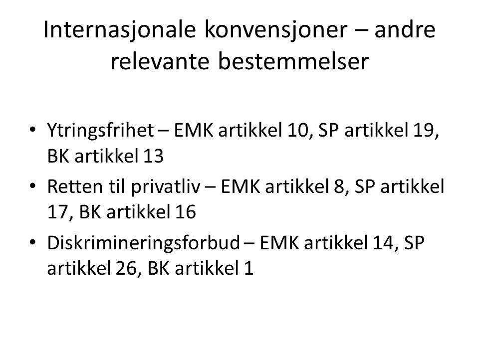 Internasjonale konvensjoner – andre relevante bestemmelser Ytringsfrihet – EMK artikkel 10, SP artikkel 19, BK artikkel 13 Retten til privatliv – EMK artikkel 8, SP artikkel 17, BK artikkel 16 Diskrimineringsforbud – EMK artikkel 14, SP artikkel 26, BK artikkel 1