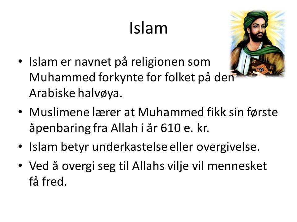 Islam Islam er navnet på religionen som Muhammed forkynte for folket på den Arabiske halvøya. Muslimene lærer at Muhammed fikk sin første åpenbaring f