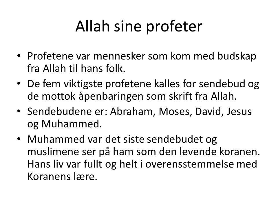 Allah sine profeter Profetene var mennesker som kom med budskap fra Allah til hans folk. De fem viktigste profetene kalles for sendebud og de mottok å