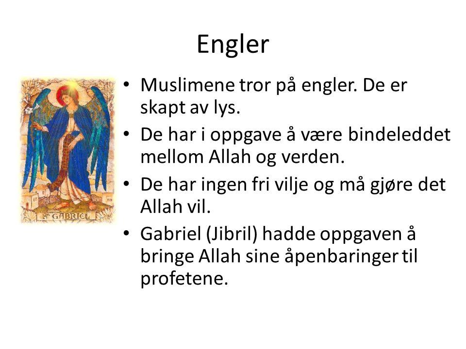 Engler Muslimene tror på engler. De er skapt av lys. De har i oppgave å være bindeleddet mellom Allah og verden. De har ingen fri vilje og må gjøre de