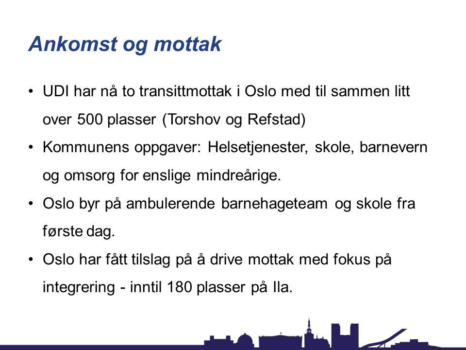 Ankomst og mottak UDI har nå to transittmottak i Oslo med til sammen litt over 500 plasser (Torshov og Refstad) Kommunens oppgaver: Helsetjenester, skole, barnevern og omsorg for enslige mindreårige.
