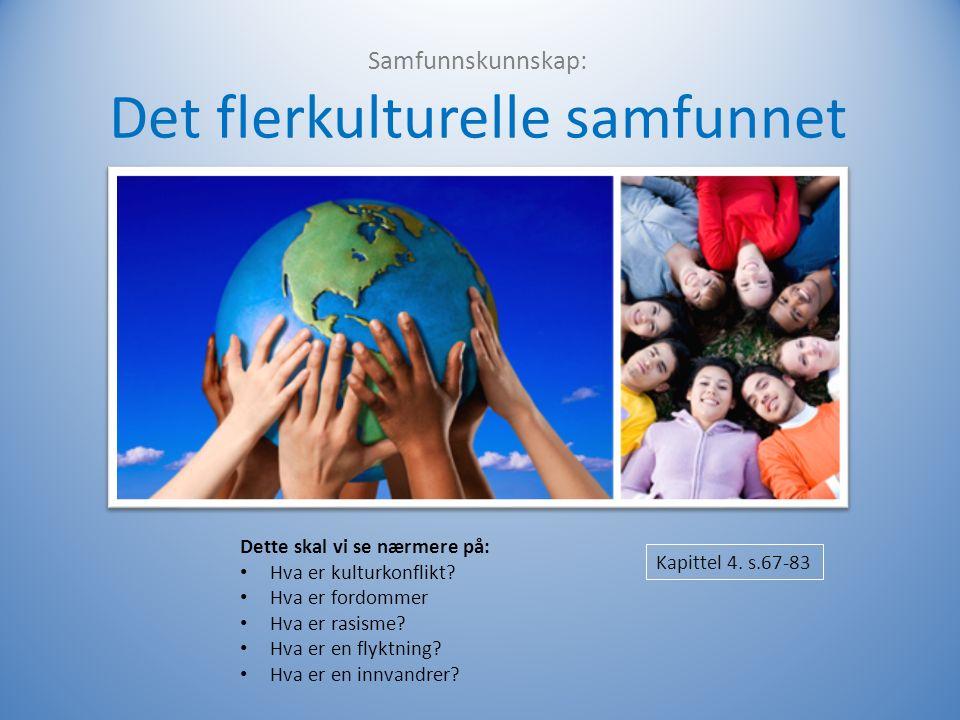 Samfunnskunnskap: Det flerkulturelle samfunnet Kapittel 4.