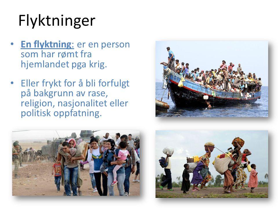 Flyktninger En flyktning: er en person som har rømt fra hjemlandet pga krig.