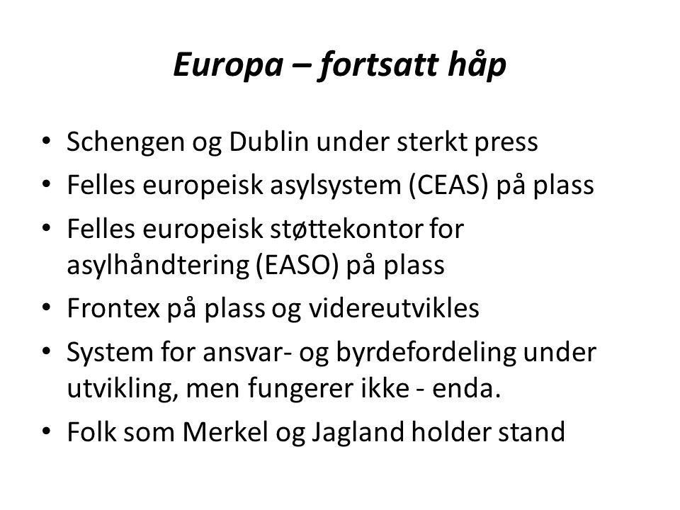 Europa – fortsatt håp Schengen og Dublin under sterkt press Felles europeisk asylsystem (CEAS) på plass Felles europeisk støttekontor for asylhåndtering (EASO) på plass Frontex på plass og videreutvikles System for ansvar- og byrdefordeling under utvikling, men fungerer ikke - enda.