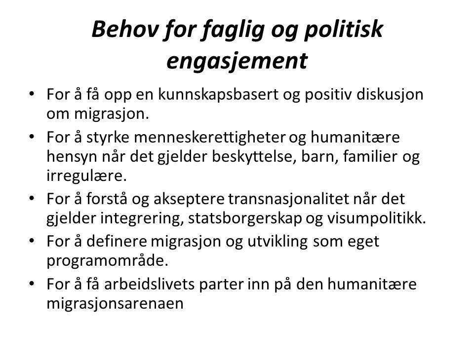 Behov for faglig og politisk engasjement For å få opp en kunnskapsbasert og positiv diskusjon om migrasjon. For å styrke menneskerettigheter og humani