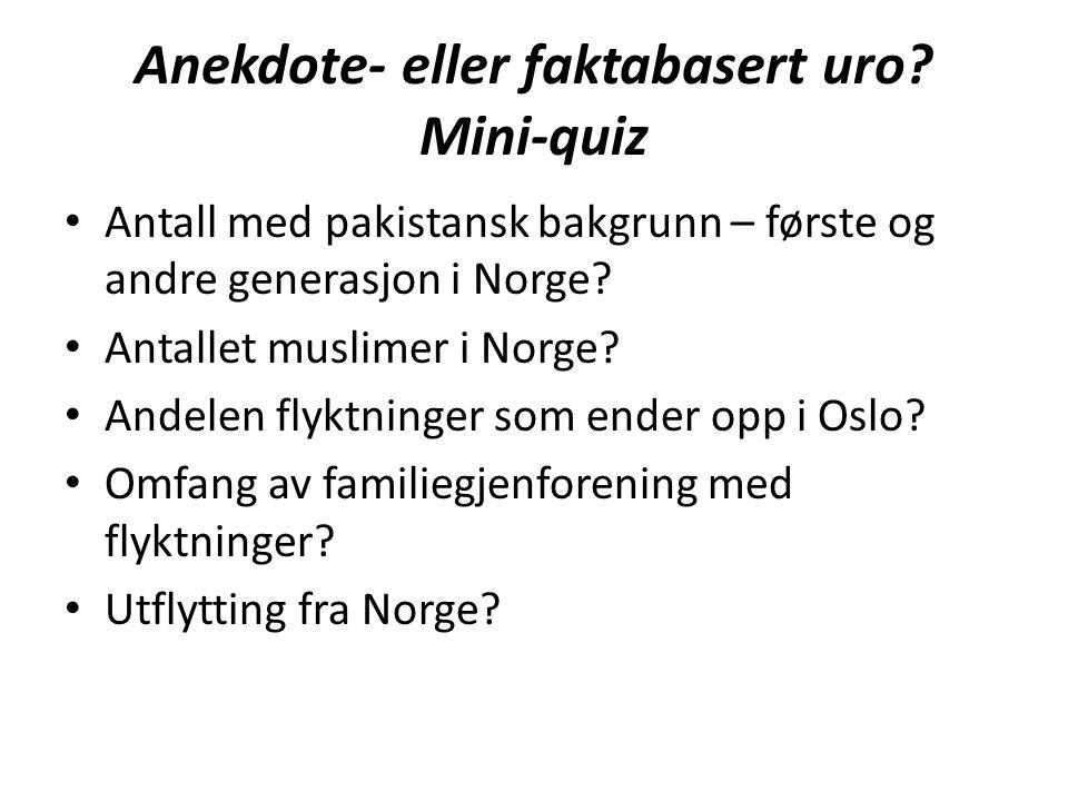 Anekdote- eller faktabasert uro? Mini-quiz Antall med pakistansk bakgrunn – første og andre generasjon i Norge? Antallet muslimer i Norge? Andelen fly