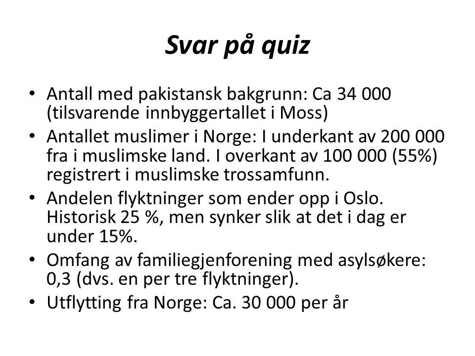 Svar på quiz Antall med pakistansk bakgrunn: Ca 34 000 (tilsvarende innbyggertallet i Moss) Antallet muslimer i Norge: I underkant av 200 000 fra i mu