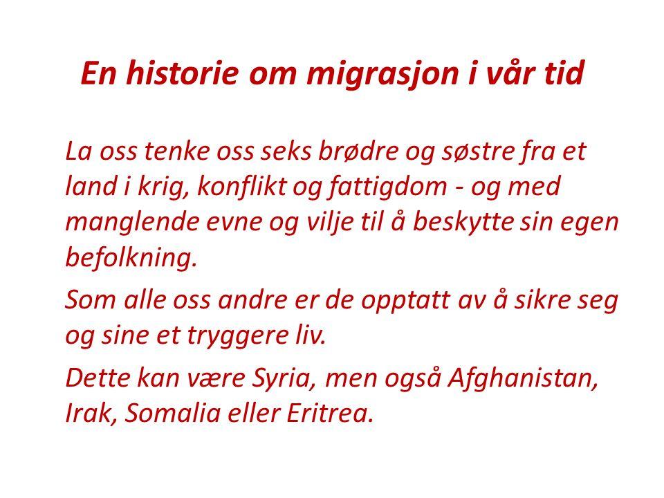 En historie om migrasjon i vår tid La oss tenke oss seks brødre og søstre fra et land i krig, konflikt og fattigdom - og med manglende evne og vilje t
