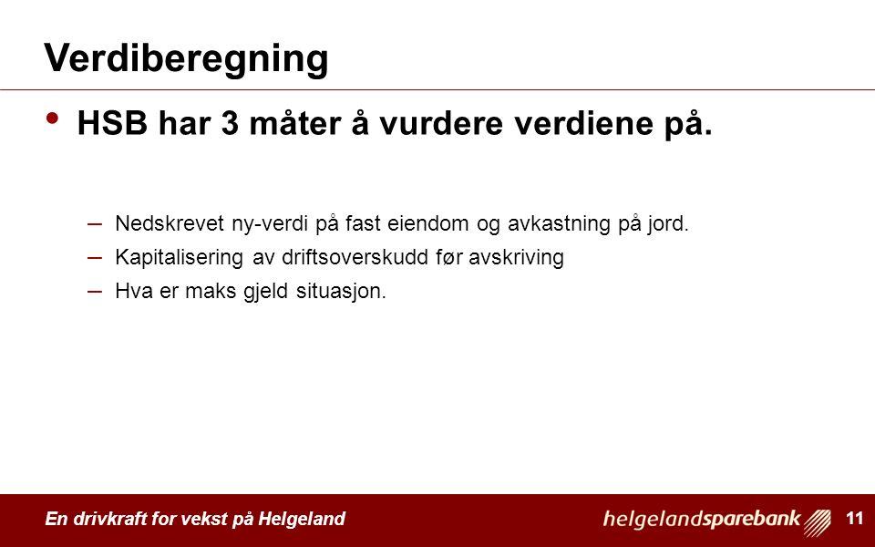 En drivkraft for vekst på Helgeland Verdiberegning HSB har 3 måter å vurdere verdiene på. – Nedskrevet ny-verdi på fast eiendom og avkastning på jord.