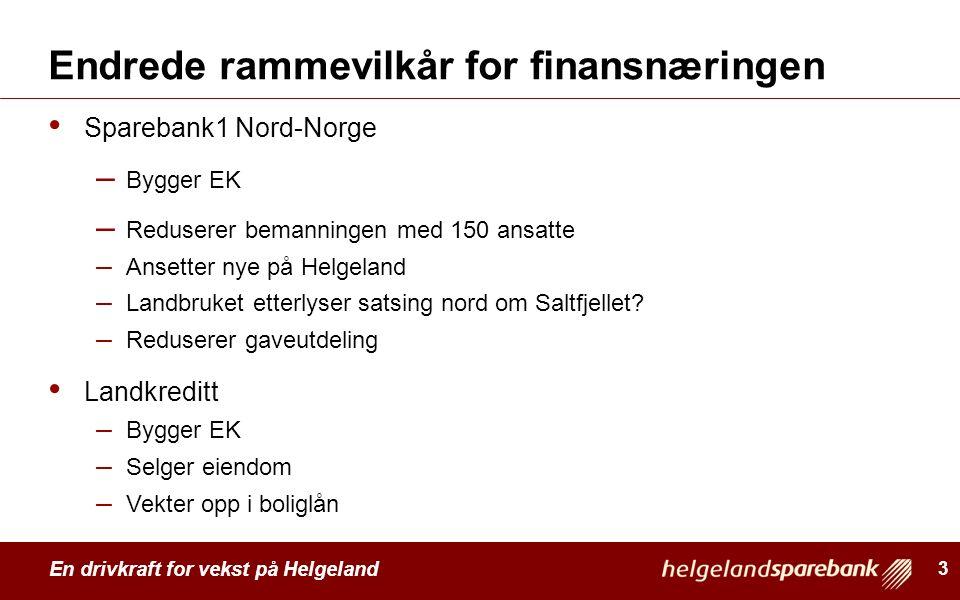 En drivkraft for vekst på Helgeland Endrede rammevilkår for finansnæringen Sparebank1 Nord-Norge – Bygger EK – Reduserer bemanningen med 150 ansatte –